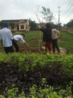 Tích cực trồng cây tại trường THCS Quảng Tiên